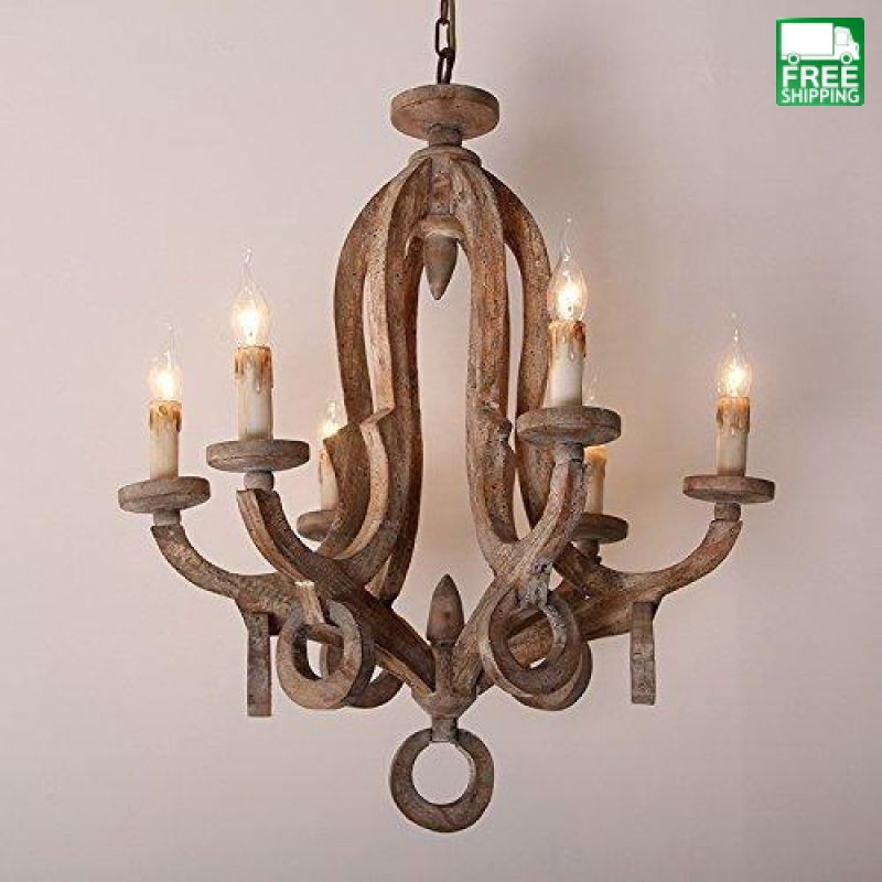 Rustic Sculpted Wooden 6-Light Chandelier