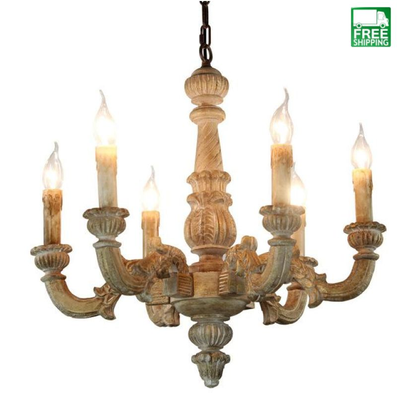Vintage Amercian Rustic Wooden Chandelier Lamp Living Hotel And Bedroom Ceiling Light Fixture
