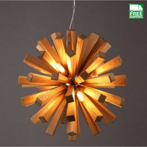 Solid Art Deco Block Wood Round Burst Chandelier