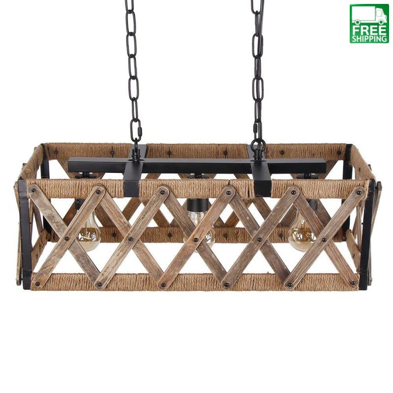 Square Caged Metal and Wood Chandelier