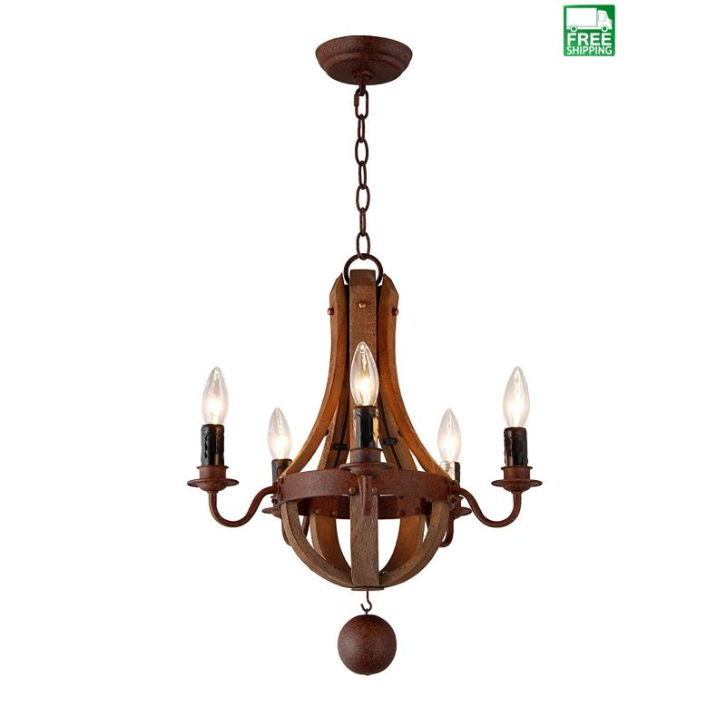 Vintage Rustic Wood Metal Wine Barrel Mini Chandelier