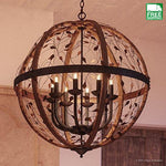 Walnut Stained Wood Bronze Finish Globe Shade Chandelier