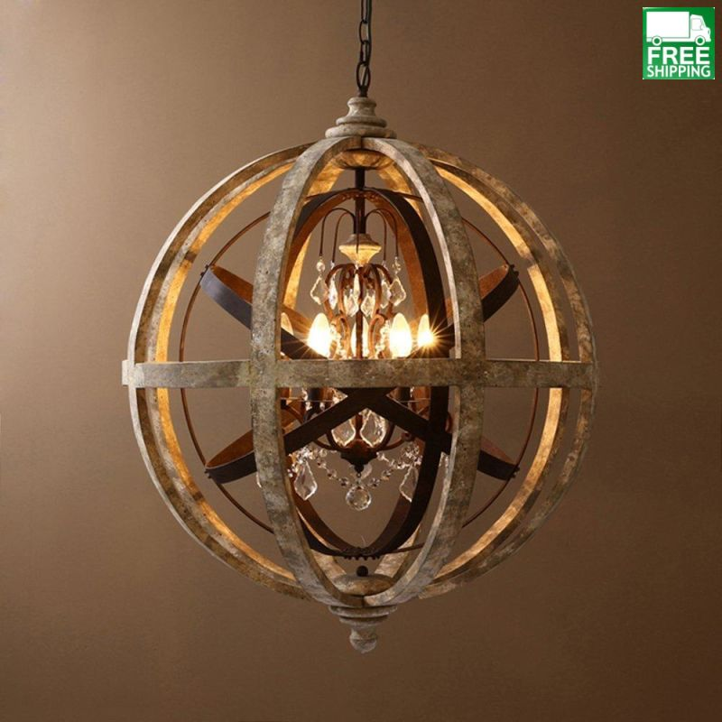 Wooden Mixed Metal Orb Crystal 5 Light Chandelier Free Shipping Wood Chandeliers