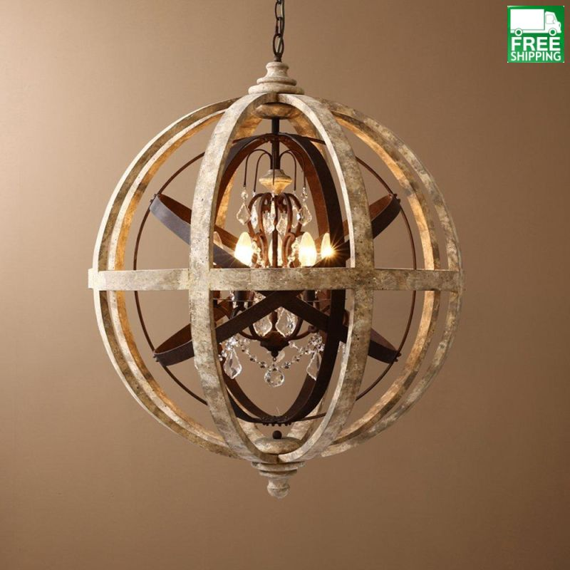 Weathered Wooden Mixed Metal Orb chandelier