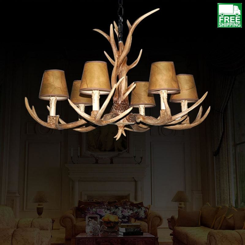 Wood Accented Antler Detailed Pendant Chandelier
