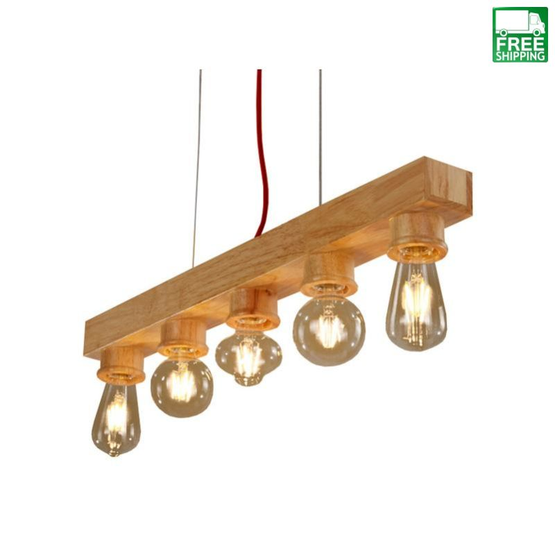 Wood Chandelier with Five Lights