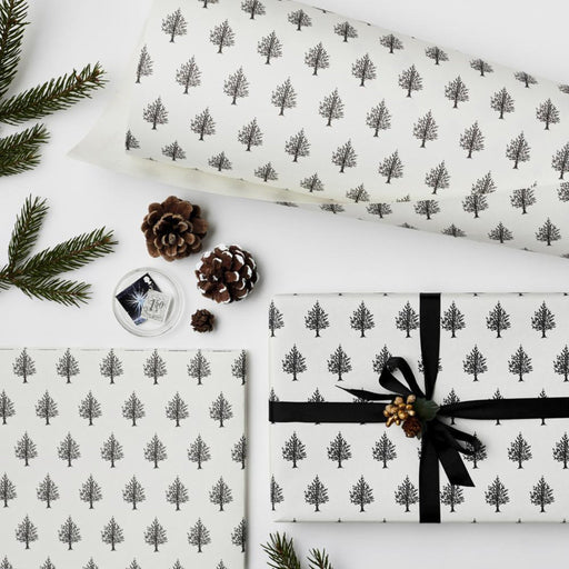 Christmas Trees Black & White wrapping paper sheet
