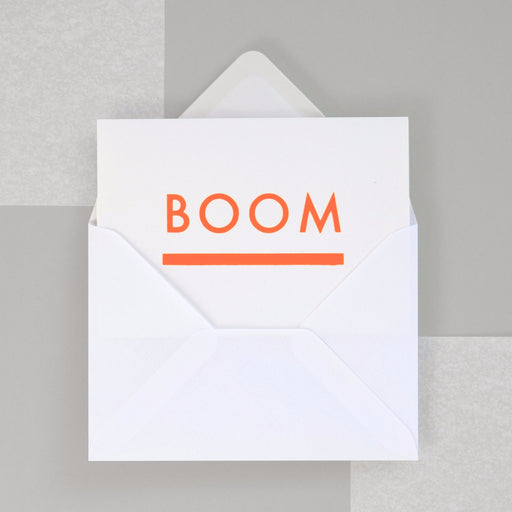 Boom Print in Neon Orange/ White