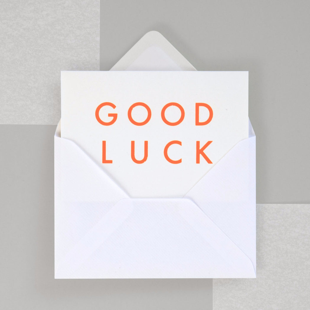 Good Luck Print in Neon Orange/ White