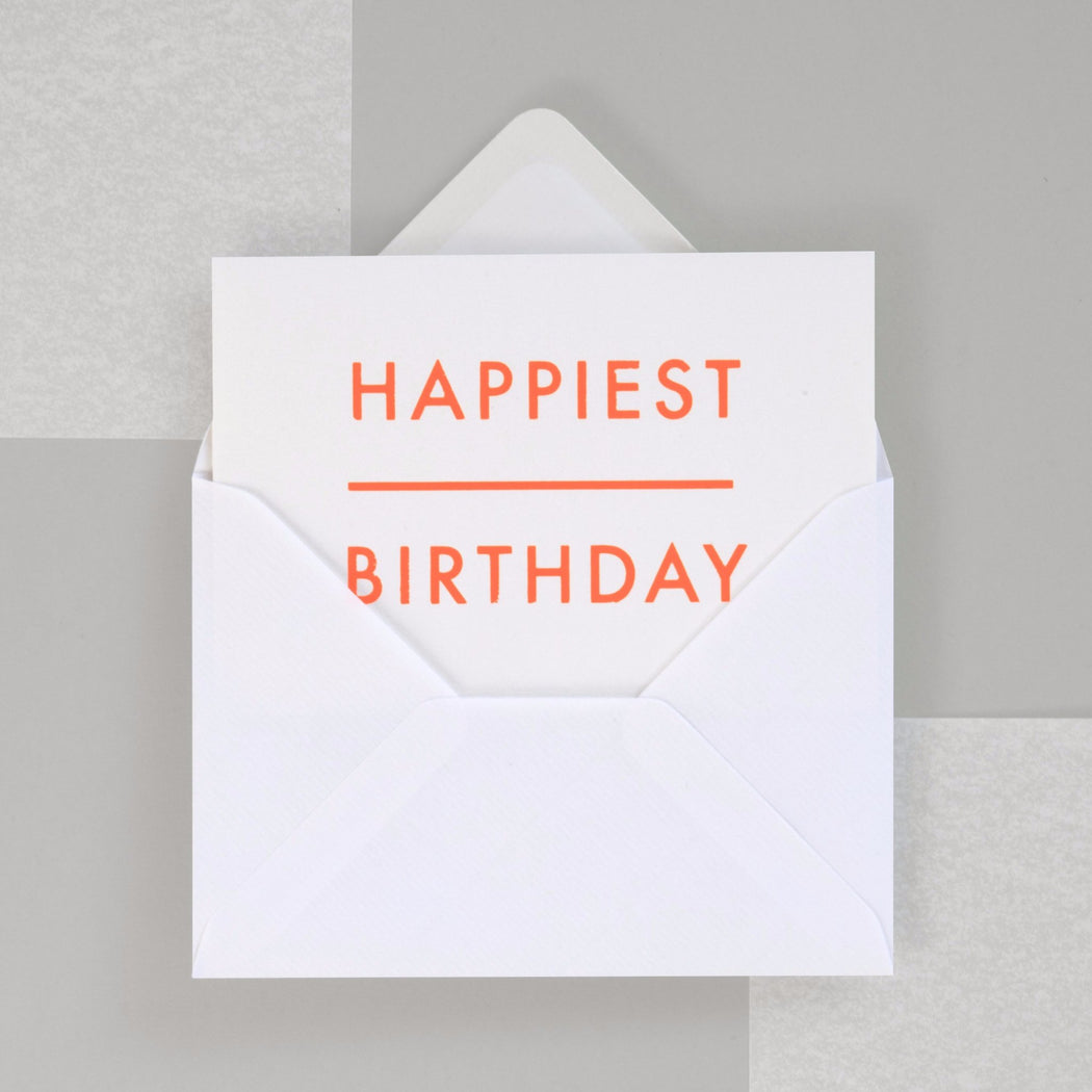 Happiest Birthday Print in Neon Orange/ White