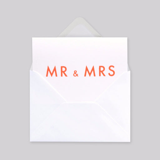 Mr&Mrs Print in Neon Orange/ White