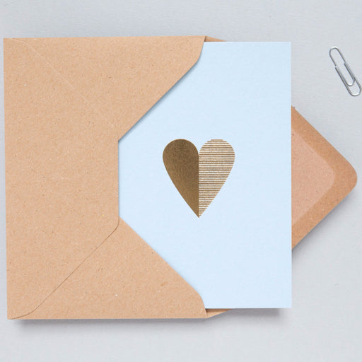 Heart Print in Blue/Brass