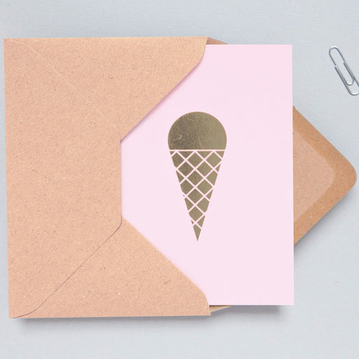 Ice Cream Print in Pink/Brass