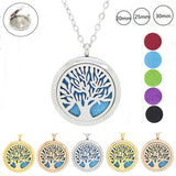Tree of life magnetic essential oil diffuser necklace 316L stainless steel aromatherapy pendants 20mm 25mm 30mm free with 5pads