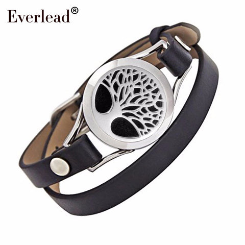 tree of life leather locket bracelet stainless steel Essential oil Aromatherapy twist locket bangle include jewelry box and pads
