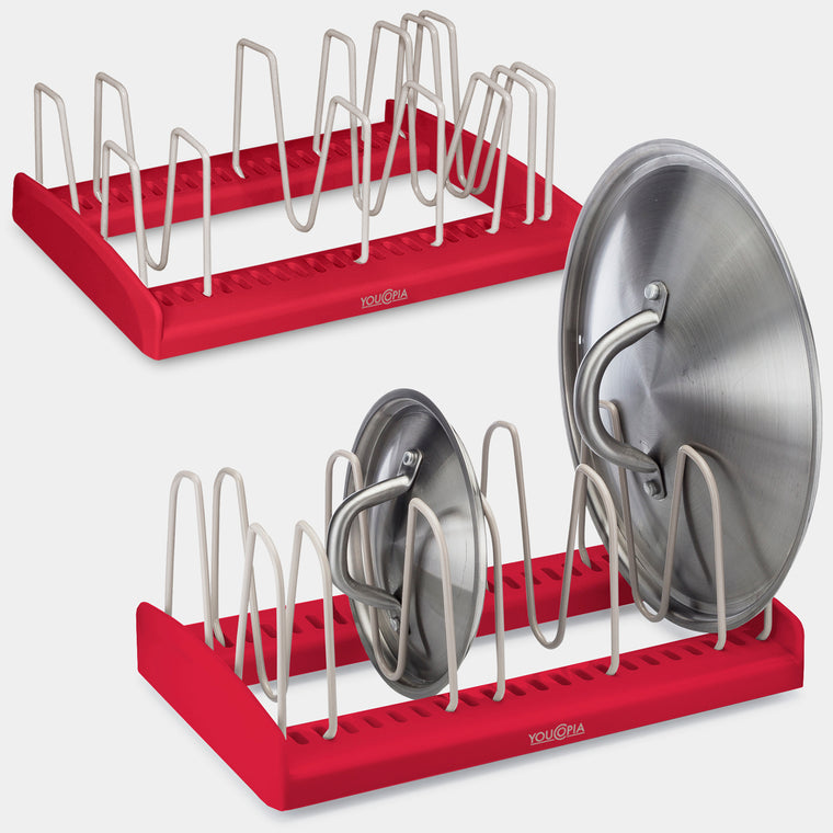 YouCopia StoreMore Adjustable Lid Holder, Set of 2, Red