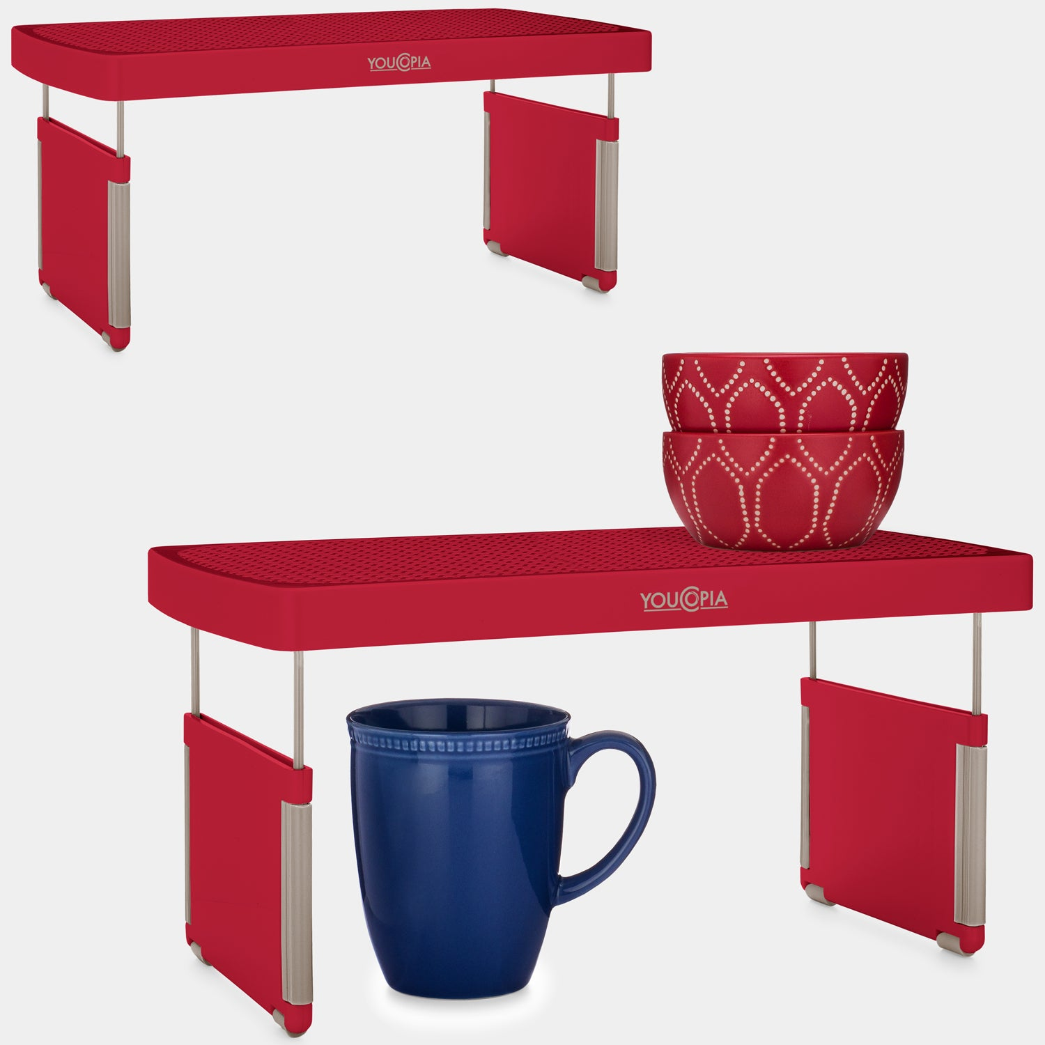 YouCopia StoreMore Height Adjustable Cabinet Shelf Organizer 2-Pack, Red