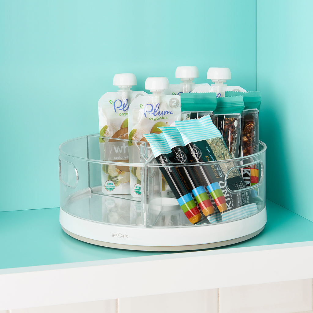 Crazy Susan Turntable Snack Organizer with Bins