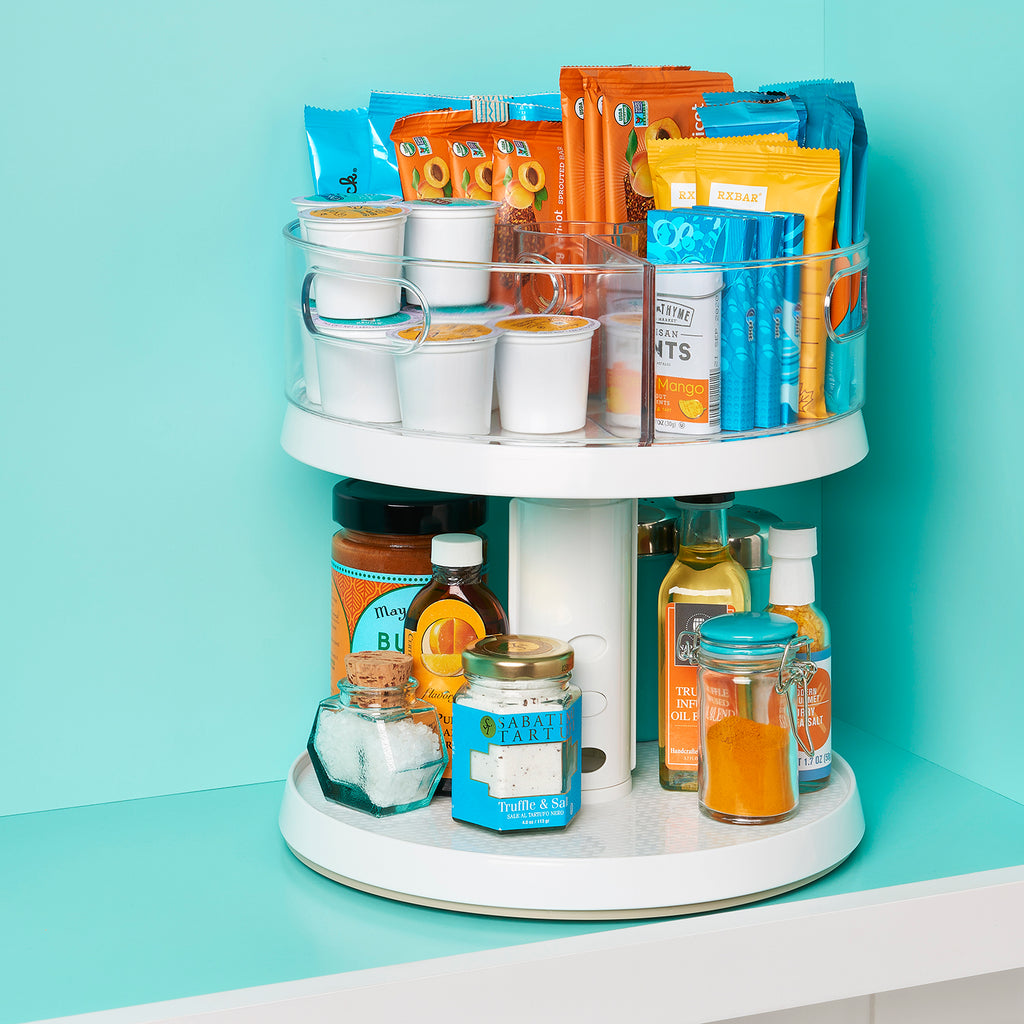 YouCopia Two-Tier Crazy Susan Kitchen Cabinet Turntable and Spice Organizer