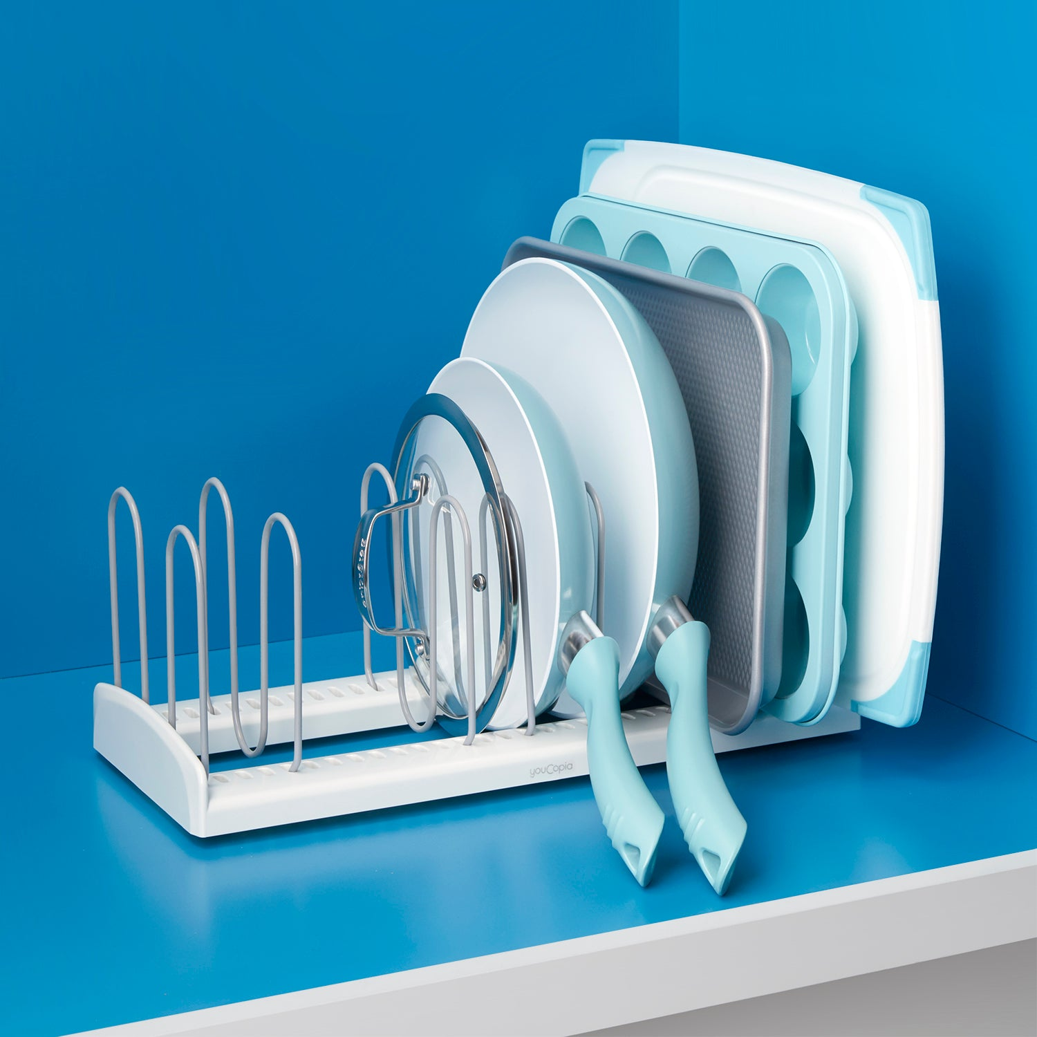 StoreMore Adjustable Pan and Lid Rack