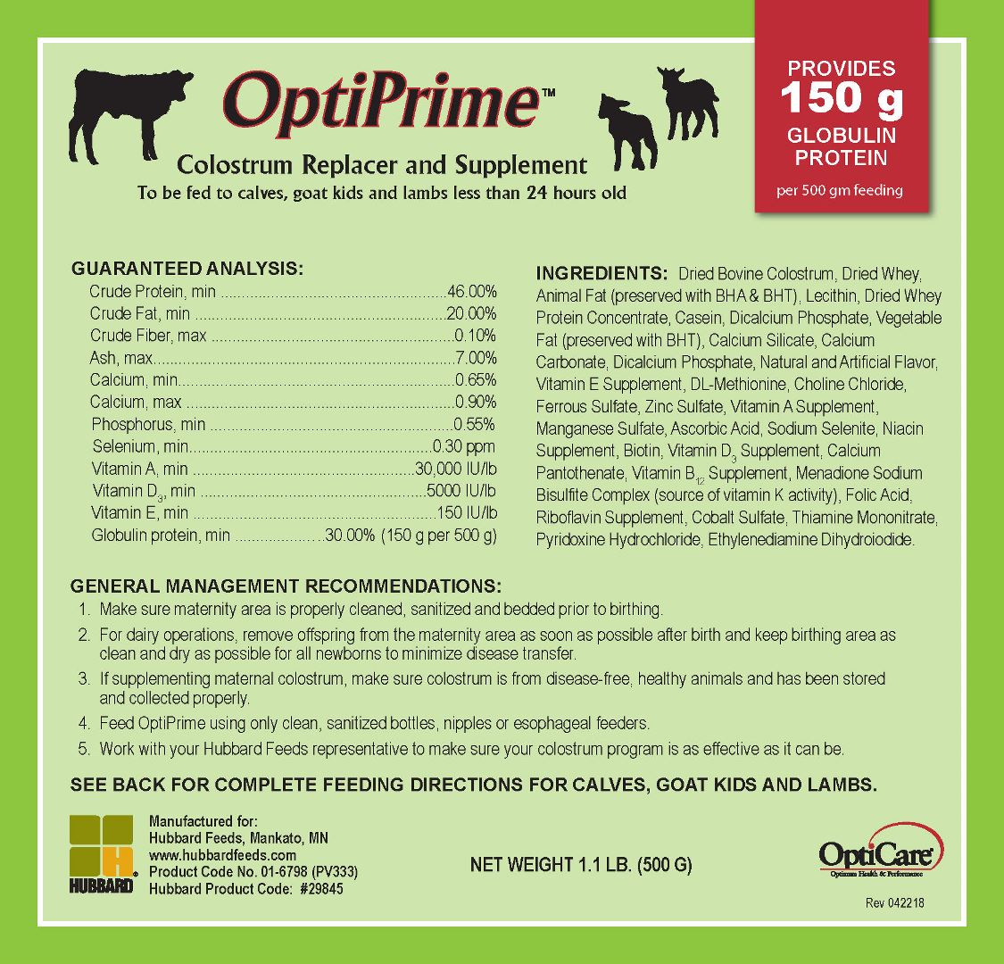 OptiPrime™ Colostrum Replacer - Hubbard Feeds