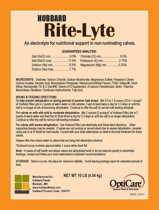 Electrolytes Supplement for Calves - Hubbard Rite-Lyte