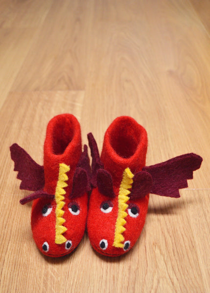Red Dragon Felt Booties