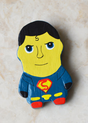 Wooden Superman Magnet
