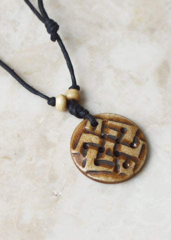 Tibetan Knot Bone Necklace