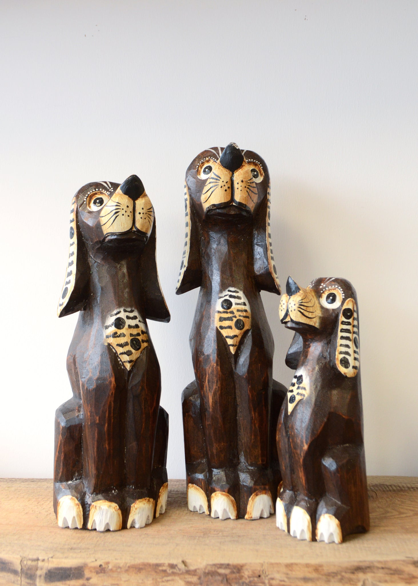 Wooden Dog Carvings - Set of Three