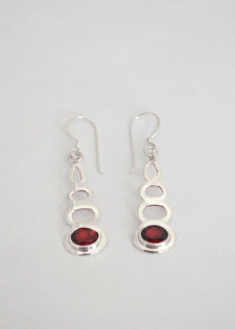 Silver Garnet Bali Earrings