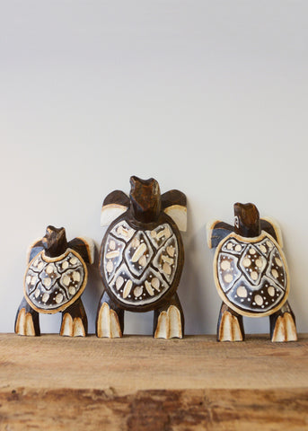 Wooden Turtle Carvings - Set of Three