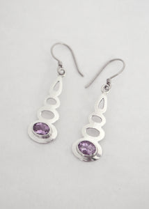 Silver Amethyst Bali Earrings