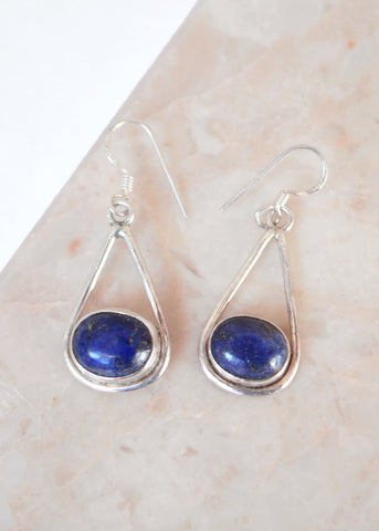 Silver Lapis Lazuli Drop Earrings