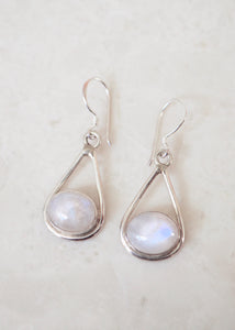 Silver Rainbow Moonstone Drop Earrings
