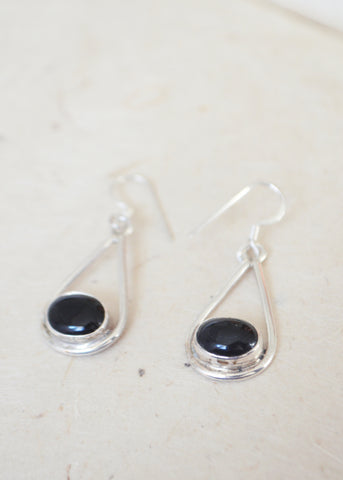 Silver Black Onyx Drop Earrings
