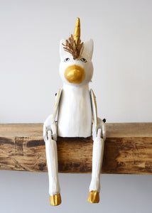Wooden Unicorn Shelf Sitter