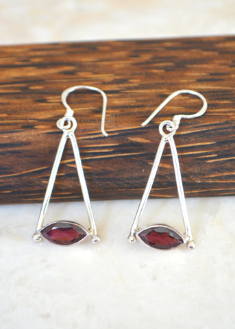 Silver Marquise Garnet Earrings