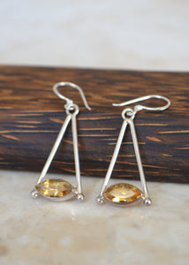 Silver Marquise Citrine Earrings