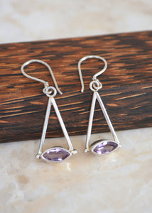 Silver Marquise Amethyst Earrings