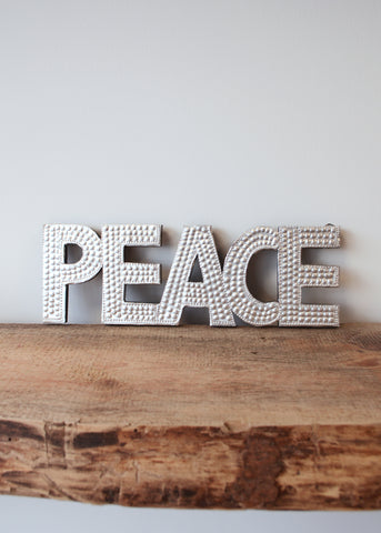 Peace - Silver Embossed Wall Decoration