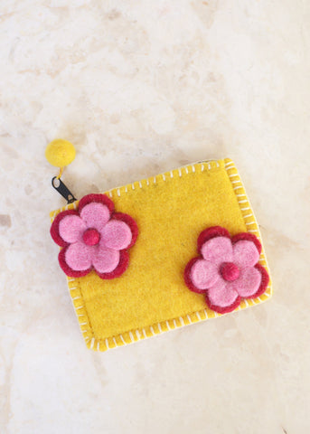 Double Flower Purse - Yellow