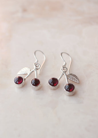 Silver Cherry Cabochon Garnet Earrings