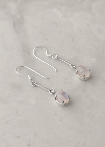 Silver Rainbow Moonstone Pole Earrings