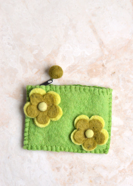 Double Flower Purse - Green
