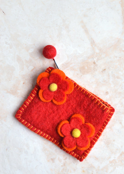 Double Flower Purse - Red