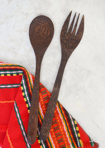 Palm Wood Salad Serving Set