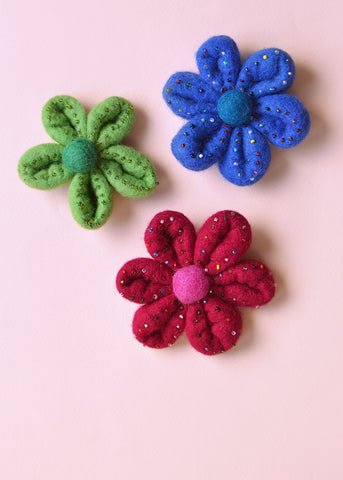 Large Beaded Flower Brooch