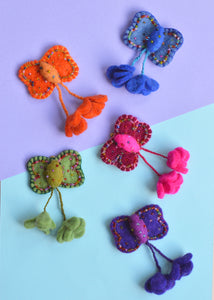 Butterfly Brooch With Tassels