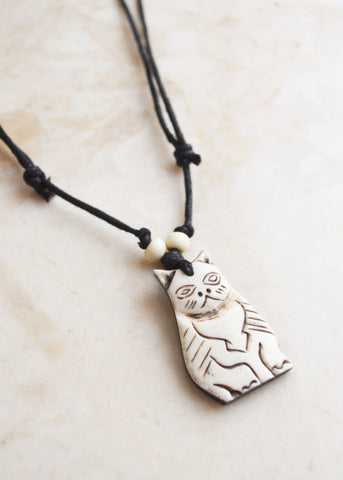 White Cat Bone Necklace